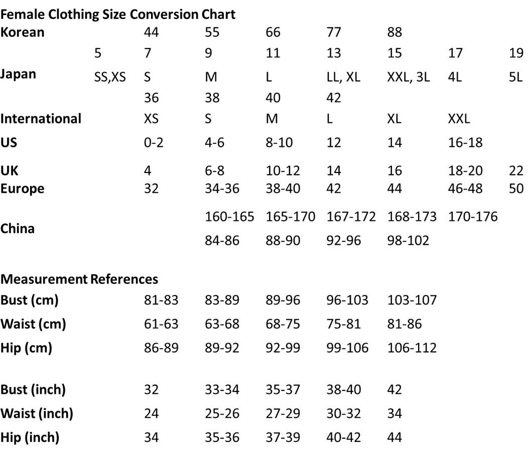 International Size Conversion Charts And Measurements Baby